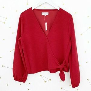 Madewell • Red Texture Thread Crepe Wrap Top